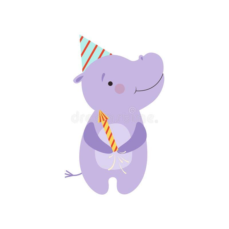 O hipopótamo bonito com uma panela de fazer pipoca do partido, caráter animal dos desenhos animados bonitos, molde do projeto pod ilustração stock