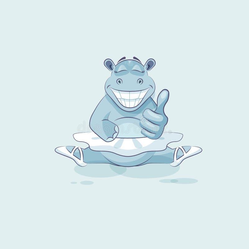 O hipopótamo da bailarina dos desenhos animados do caráter de Emoji da ilustração do vetor aprova com polegar acima ilustração stock