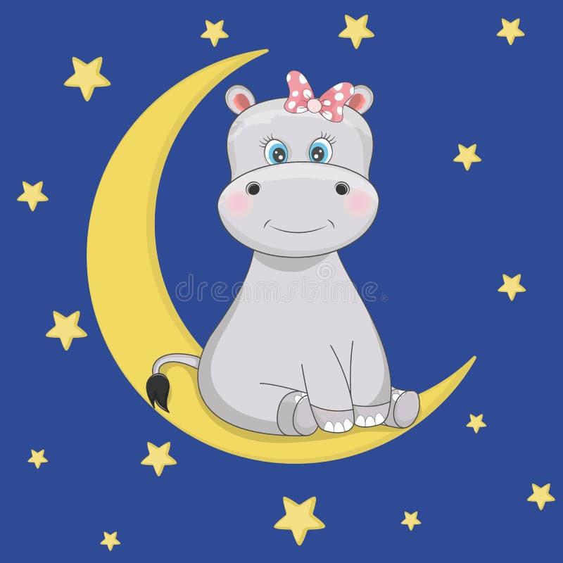 O hipopótamo engraçado bonito dos desenhos animados está sentando-se na lua ilustração royalty free