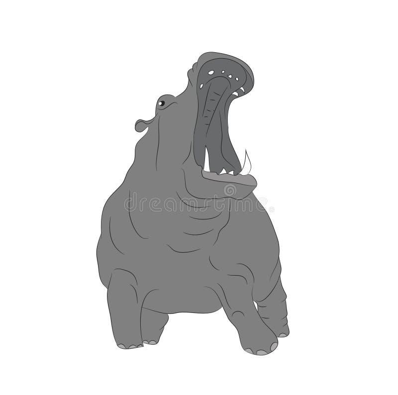 O hipopótamo está a cor de desenho, vetor ilustração stock