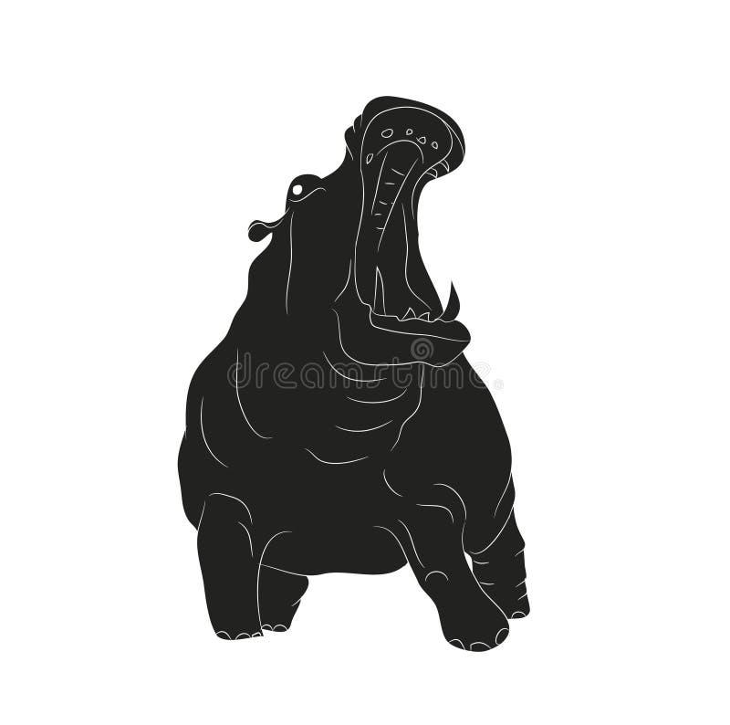 O hipopótamo está a silhueta do desenho, vetor ilustração stock