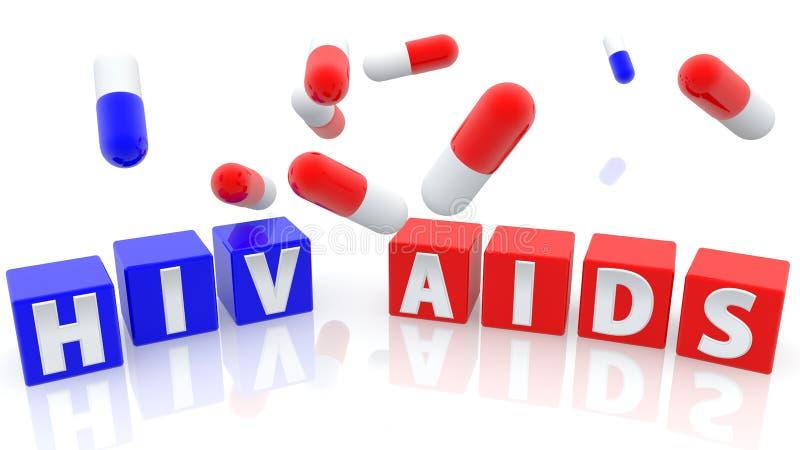 O Hiv, ajuda ao conceito em cubos azuis e vermelhos com comprimidos ilustração stock