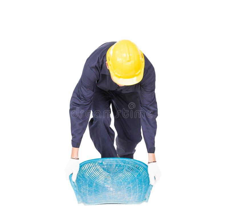 O Hod ou a parte superior da posse do trabalhador novo deram forma à cesta fotografia de stock royalty free