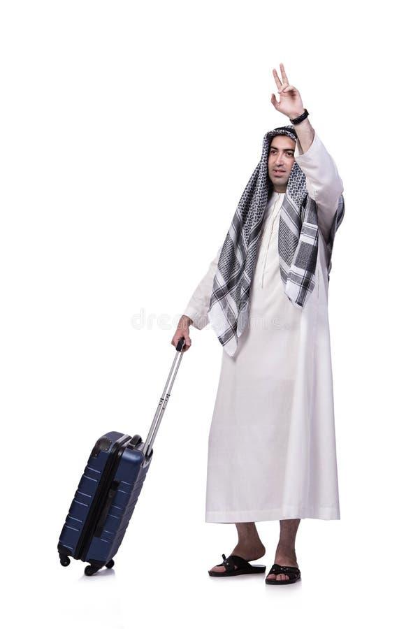 O homem árabe com a mala de viagem no conceito do curso isolada no branco fotografia de stock