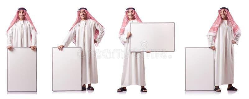 O homem árabe com placa vazia no branco fotografia de stock royalty free