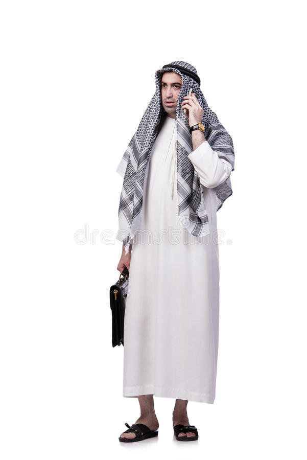 O homem árabe com seu telefone celular isolado no branco foto de stock
