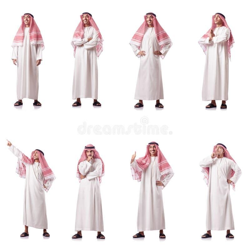 O homem árabe isolado no branco fotos de stock