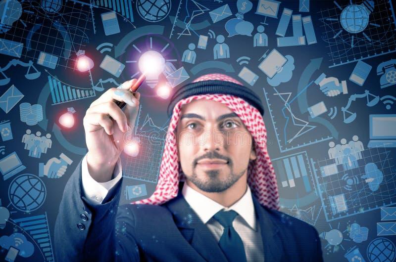 O homem árabe no conceito social da rede fotografia de stock royalty free