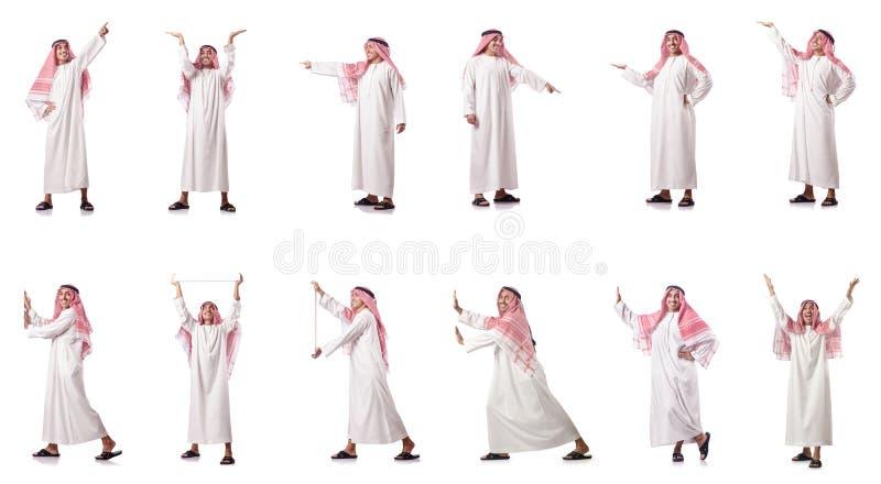 O homem árabe que pressiona botões virtuais imagem de stock royalty free