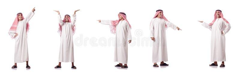 O homem árabe que pressiona botões virtuais fotos de stock
