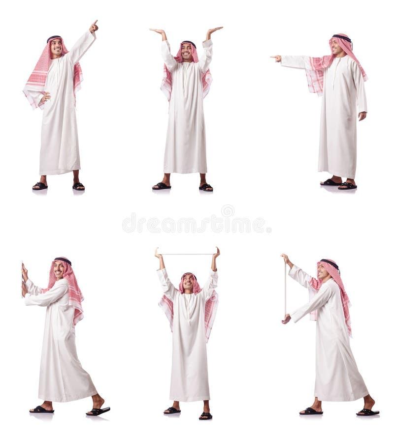 O homem árabe que pressiona botões virtuais foto de stock