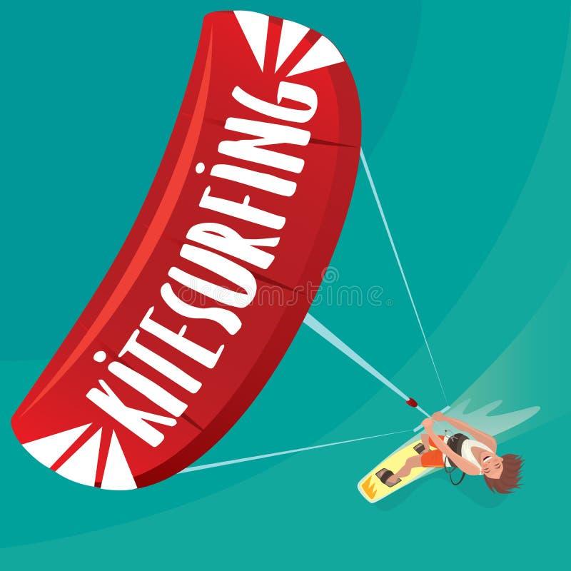 O homem é contratado em kitesurfing ilustração do vetor