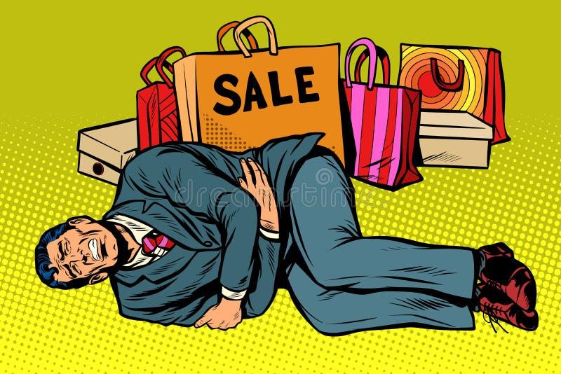 O homem é mau após a venda ilustração royalty free