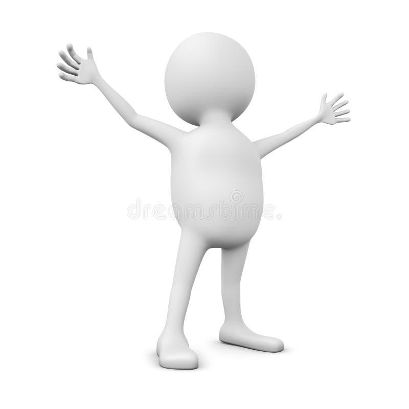 o homem 3D com mãos espalhou largamente ilustração do vetor