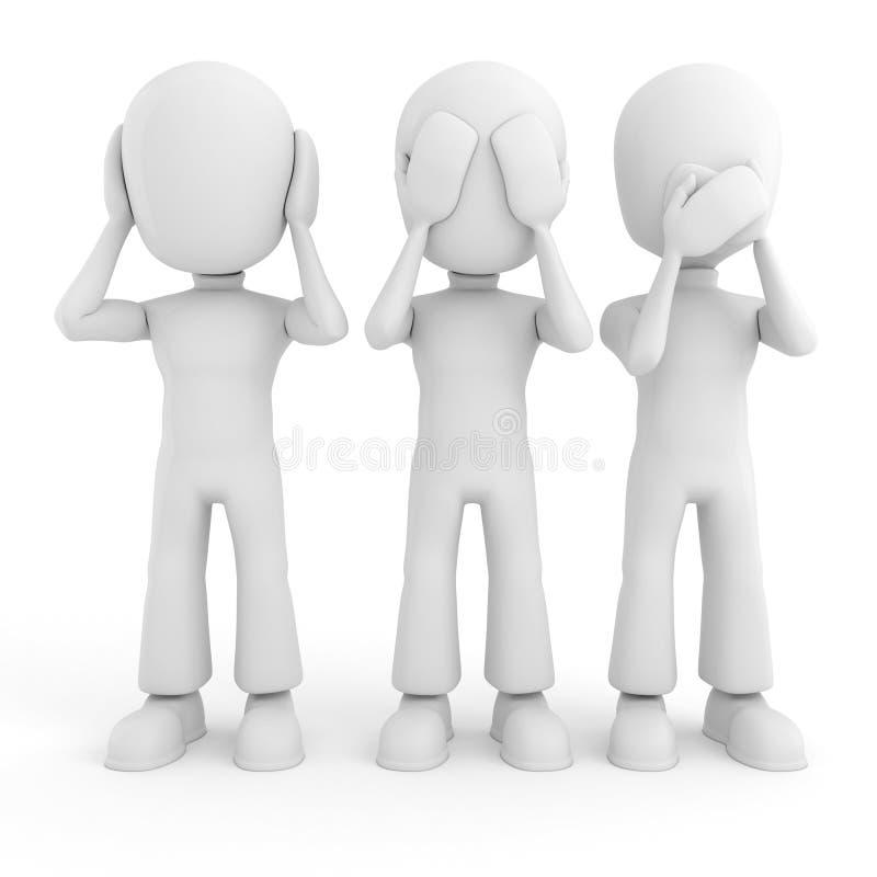 o homem 3d nenhum vê, fala ou ouve-se, isolado no branco ilustração do vetor