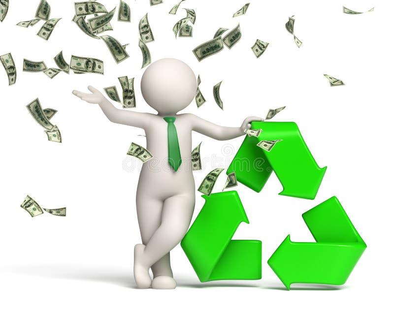 o homem 3d recicl o símbolo com chuva do dinheiro ilustração do vetor
