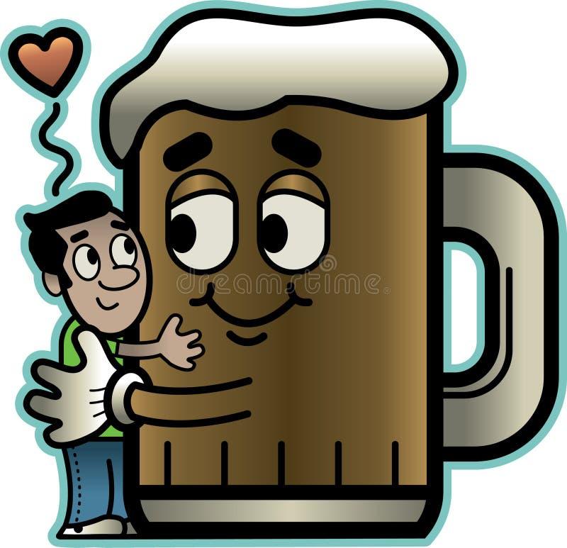 O homem abraça a cerveja ilustração do vetor