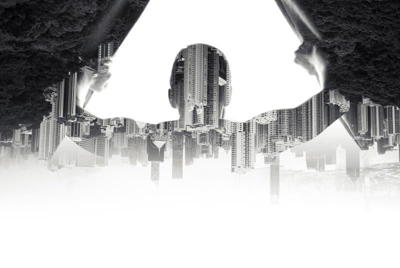 O homem abre cortinas, colagem da arquitetura da cidade foto de stock royalty free