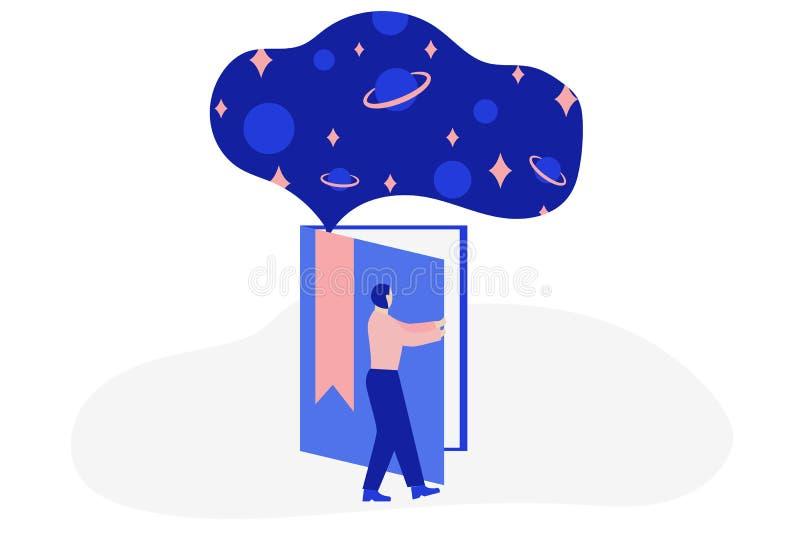 O homem abre o livro gigante com espaço ou universo para dentro Conceito em linha da educa??o Ilustra??o lisa do vetor ilustração royalty free