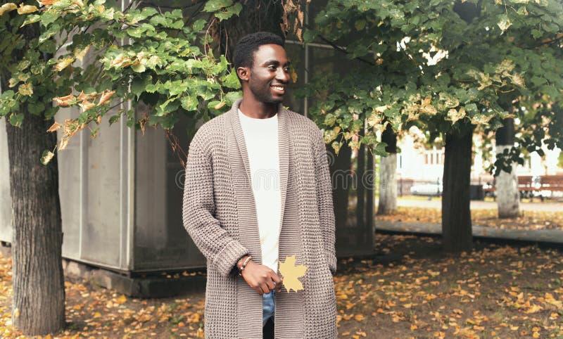 O homem africano de sorriso feliz do retrato da forma que olha afastado guarda as folhas de bordo amarelas no outono foto de stock