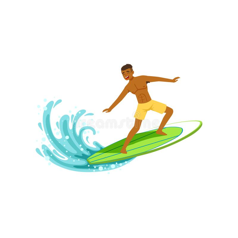 O homem afro-americano de sorriso com posição e equitação da prancha na onda de oceano, molha o esporte extremo, férias de verão ilustração stock