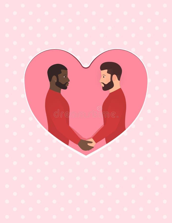O homem afro-americano e o homem branco, par alegre multirracial no amor, guardando as mãos e olhando em cada outro eyes ilustração royalty free