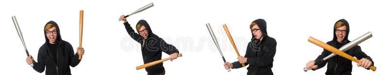 O homem agressivo com o bastão de beisebol isolado no branco fotografia de stock royalty free