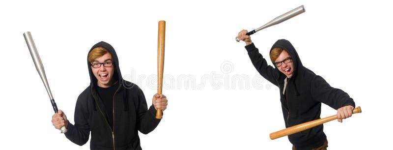 O homem agressivo com o bastão de beisebol isolado no branco imagens de stock royalty free