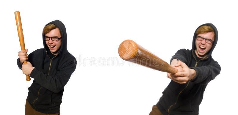 O homem agressivo com o bastão de beisebol isolado no branco imagem de stock royalty free