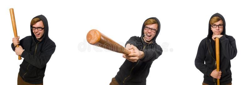 O homem agressivo com o bastão de beisebol isolado no branco fotos de stock