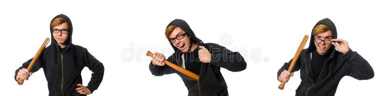 O homem agressivo com o bastão de beisebol isolado no branco imagem de stock