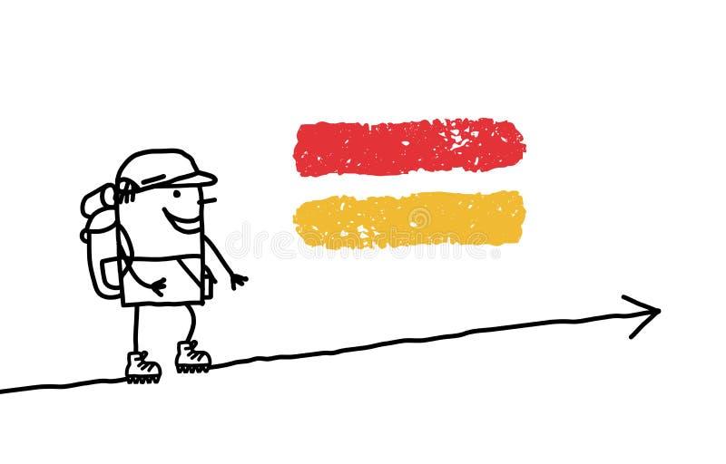 O homem & a GR de passeio assinam ilustração royalty free