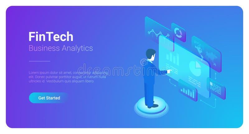 O homem analisa o mercado dos dados do espaço virtual isométrico ilustração stock