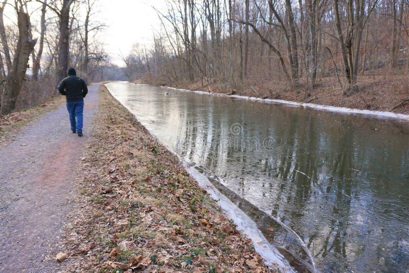 O homem anda ao longo do canal congelado de lado o Rio Delaware fotos de stock
