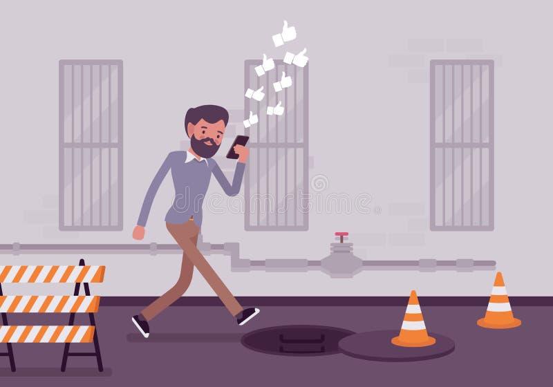 O homem anda com smartphone ilustração do vetor