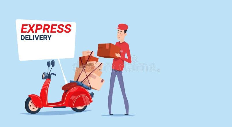O homem asiático da entrega expressa entrega caixas com o correio retro Service Template Banner do 'trotinette' ilustração royalty free