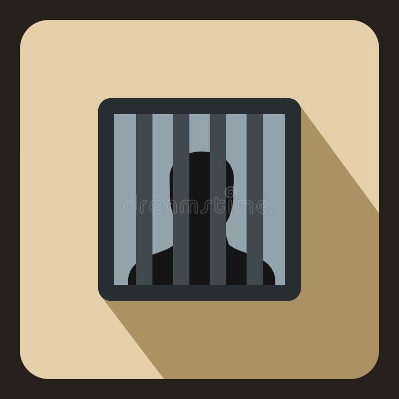 O homem atrás da cadeia barra o ícone, estilo liso ilustração stock