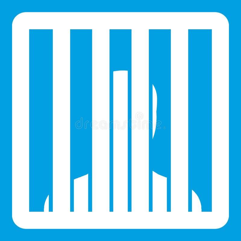 O homem atrás da cadeia barra o branco do ícone ilustração royalty free
