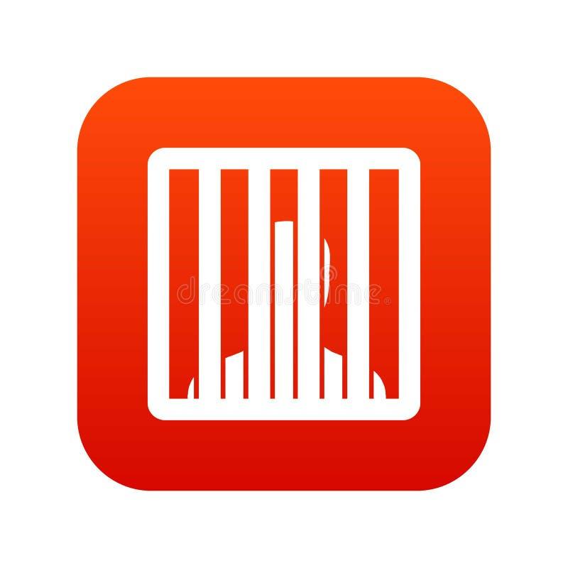 O homem atrás da cadeia barra o vermelho digital do ícone ilustração royalty free