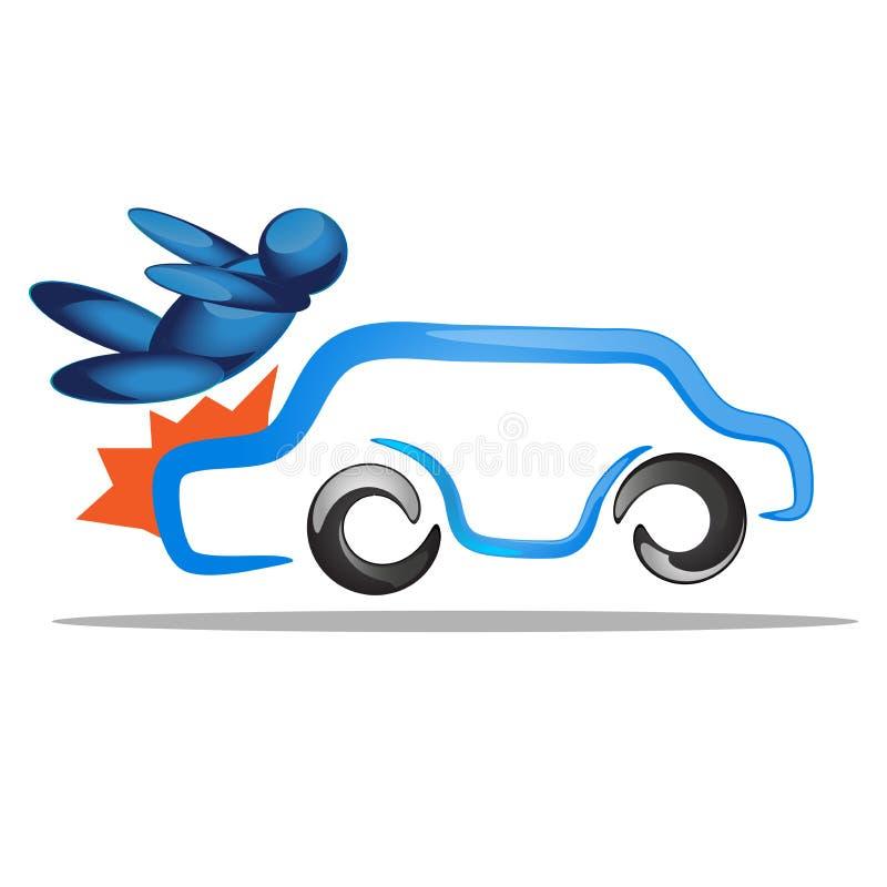 O homem azarado obtém o acidente pelo acidente de viação na estrada Ilustração do conceito do transporte ilustração do vetor
