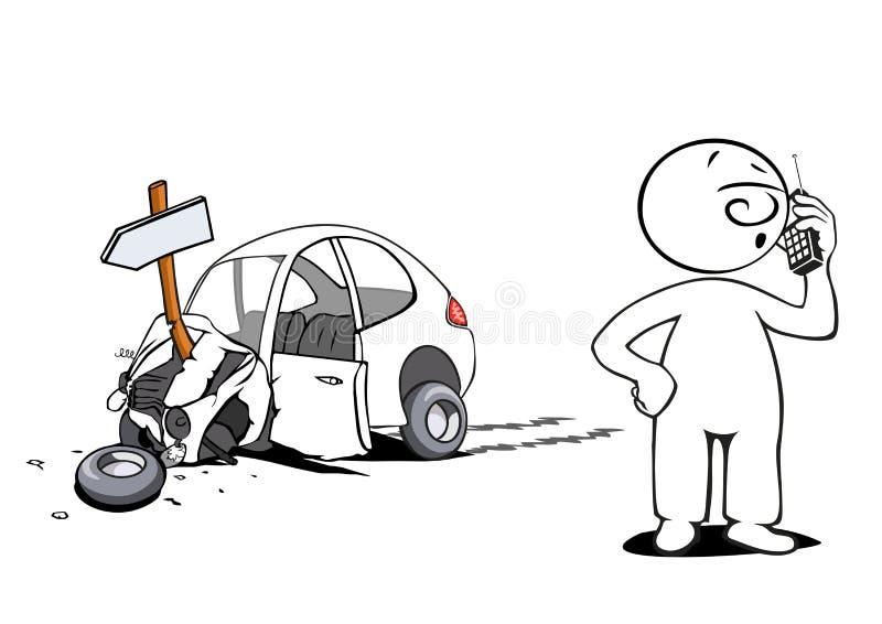 O homem cómico teve um acidente ilustração do vetor