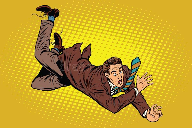 O homem cai para baixo de uma altura ilustração royalty free