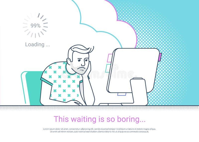 O homem cansado e furado está trabalhando com a mesa do computador em casa ilustração stock