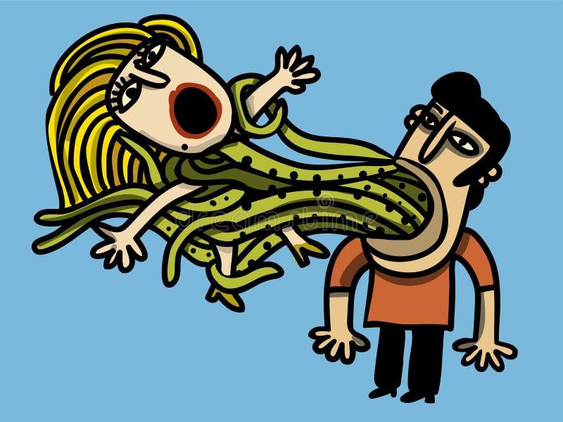 O homem captura a mulher ilustração royalty free
