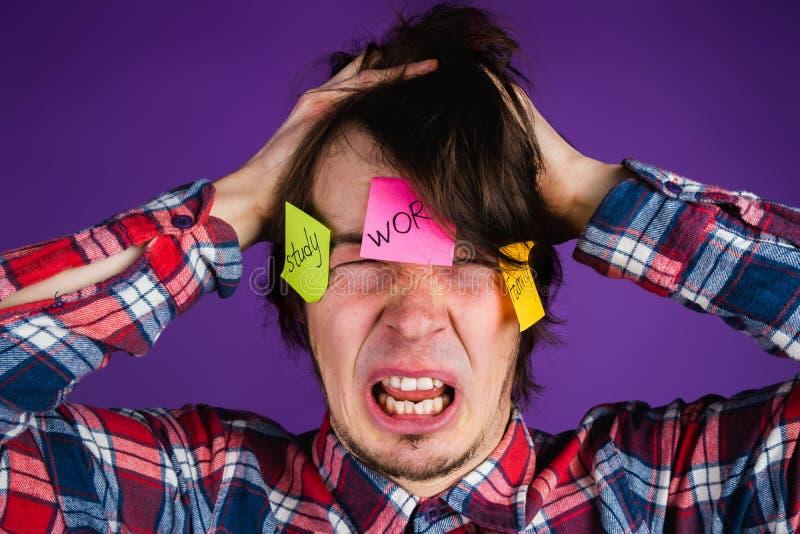 O homem caucasiano agarra seus cabeça e gritos, retrato do close-up Um homem é chocado por suas obrigações e rotina Etiquetas sob fotos de stock