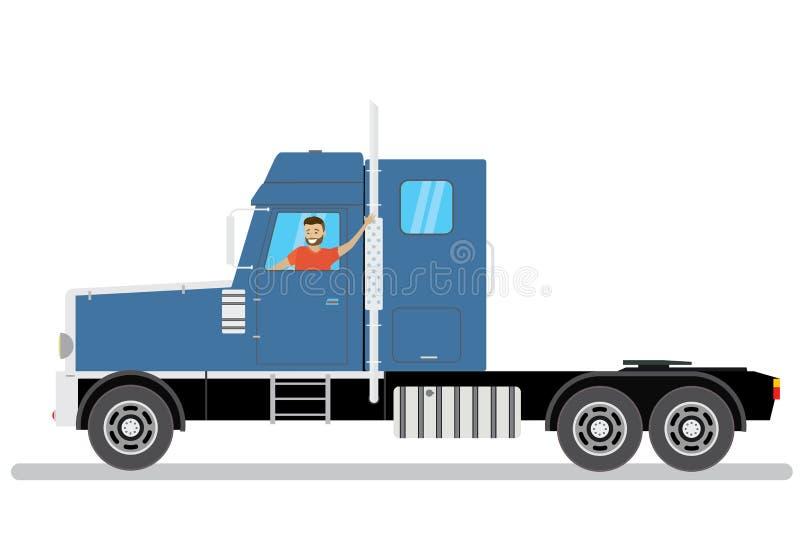 O homem caucasiano dos desenhos animados felizes monta semi no caminhão azul ilustração stock