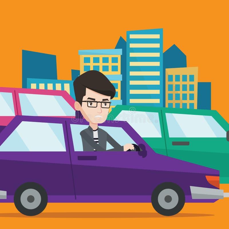 O homem caucasiano irritado no carro colou no engarrafamento ilustração royalty free