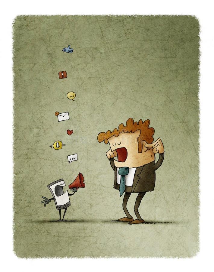 O homem cobre suas orelhas quando seu telefone celular o notificar através de um megafone ilustração royalty free
