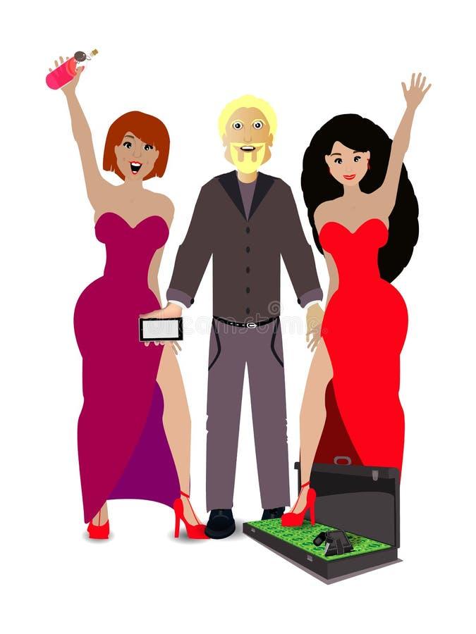 O homem com as meninas e o caso com dinheiro ilustração do vetor