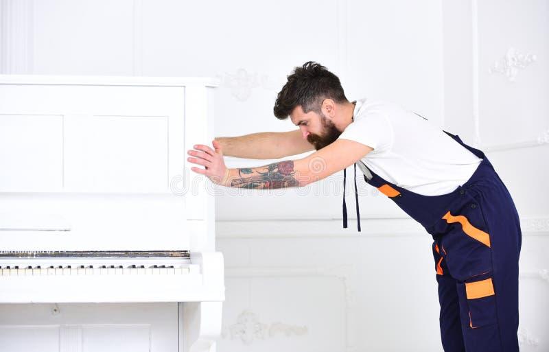 O homem com barba e o bigode, trabalhador nos macacões empurram o piano, fundo branco Conceito do serviço de entrega Movimentos d fotografia de stock